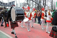 Saint Patrick`s Day celebration in Moscow. Women drummers band Royalty Free Stock Image