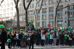 Saint Patrick's Day celebration in New York City. Crowds dressed in green on their way to the Saint Patrick's Day Parade in New York City Royalty Free Stock Image