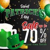 Saint Patrick`s Day Celebration and Sale Promotion Banner. Background. Vector illustration Stock Images