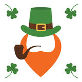 Saint Patrick s Day character leprechaun with green hat, red beard, smoking pipe isolated Stock Photography