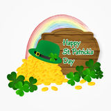 Saint Patrick's Day coins of gold, hat and rainbow background. Vector illustration. Royalty Free Stock Images