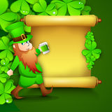 Saint Patrick's Day concept with happy leprechaun drinking green Stock Image