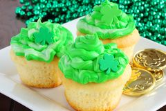 Saint Patrick`s Day cupcakes. A delicious treat to serve the family after the big parade stock photos