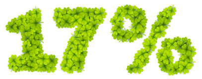 17 Saint Patrick`s Day discount number made from little four-leaf clovers. 17 Saint Patrick`s Day discount vector number made from little four-leaf clovers Stock Image