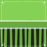 Saint Patrick`s Day elegant template with clover festive lace. Copy space and cute border on background with green and black stripes. Vector frame for greeting Stock Images