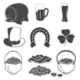 Saint Patrick's Day elements set. Detailed elements. Typographic labels, stickers, logos and badges. Flat vector illustration Royalty Free Stock Photography