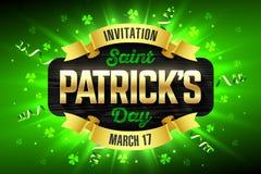 Saint Patrick`s Day flyer. Saint Patrick`s Day, Feast of Saint Patrick party invitation template, 17 March celebration Stock Image