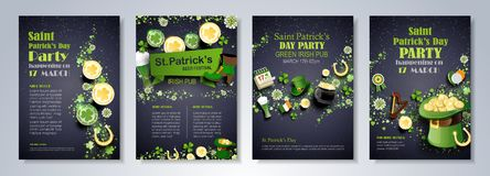 Saint Patrick`s Day flyer. Saint Patrick`s Day party flyer, brochure, holiday invitation, corporate celebration. leprechaun hat, shamrock, pot with gold coins stock illustration