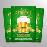 Saint patrick`s day flyer template. Vector image with glass and beer icon on green background vector illustration