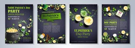 Saint Patrick`s Day flyers set Stock Photos