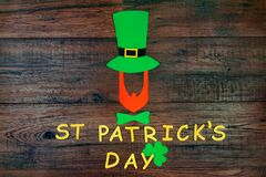 Saint Patrick`s Day on wooden background stock photos