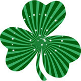 Saint Patrick`s Day Green Clover Clip Art. Lucky Leaf with sunburst pattern with sparkling stars stock illustration