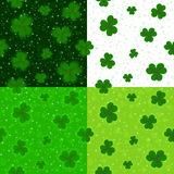 Saint Patrick`s Day green clover seamless background vector collection Stock Photo
