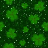 Saint Patrick's Day green clover seamless background vector illustration. Saint Patrick's Day green clover seamless background with stars. vector illustration Royalty Free Stock Images