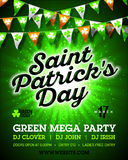 Saint Patrick`s Day green mega party invitation poster. Placard design with bright confetti shot black lettering and bunting flags on green background, 17 Royalty Free Stock Image