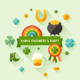Saint Patrick's Day greeting card in flat design Royalty Free Stock Photos