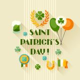 Saint Patrick's Day greeting card in flat design Stock Photo