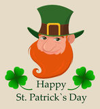 Saint Patrick`s Day greeting card. Head of cartoon happy leprechaun. Character with green hat, red beard and four leaf clover. Stock Photo