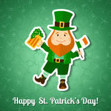 Saint Patrick's Day greeting card with leprechaun Royalty Free Stock Photos