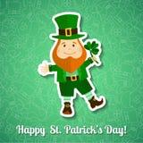 Saint Patrick's Day greeting card with leprechaun Stock Photos