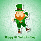 Saint Patrick's Day greeting card with leprechaun Royalty Free Stock Image