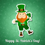 Saint Patrick's Day greeting card with leprechaun Stock Images