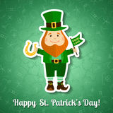 Saint Patrick's Day greeting card with leprechaun Royalty Free Stock Photography