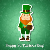 Saint Patrick's Day greeting card with leprechaun Stock Photo