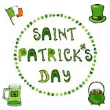 ' Saint Patrick's Day'. Hand drawn St. Patrick's Day lettering outline typography for postcard, card, flyer, banner template.  Stock Photography
