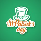 Saint Patrick`s Day. Hand drawn typography sticker Royalty Free Stock Photos