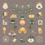 Saint Patrick's day icon set in flat style Stock Images