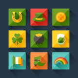 Saint Patrick's Day icons in flat design style Royalty Free Stock Photo