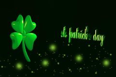 Saint Patrick`s day illustration - 3D four leaf clover. Black background Stock Photography