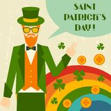 Saint Patrick's Day illustration with hipster Stock Photography