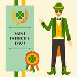 Saint Patrick's Day illustration with hipster Stock Images