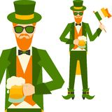 Saint Patrick's Day illustration with hipster Royalty Free Stock Images