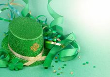 Saint Patrick`s Day image of sparkly green and gold leprechaun h stock images