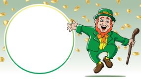 Saint Patrick`s Day leprechaun dancing among gold coins retail sale royalty free stock image