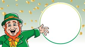 Saint Patrick`s Day leprechaun shouting message among gold coins retail sale royalty free stock image