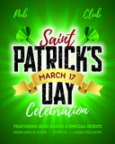 St Patricks Day poster design. Saint Patrick`s Day, 17 March, Feast of Saint Patrick celebration poster design template Stock Image