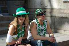 At the Saint Patrick's Day in New York City. Beer and green clothes mark the celebration of Saint Patrick's Day in New York City Royalty Free Stock Photo