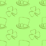 Saint Patrick`s Day outline seamless pattern with leprechaun hat and shamrock in cartoon style. Vector illustration. Holiday Colle. Saint Patrick`s Day outline Royalty Free Stock Photography