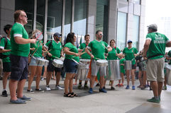 Saint Patrick`s Day parade drumming participants royalty free stock photos