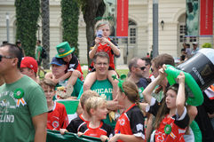Saint Patrick`s Day parade participants. In gathering on parade ground. Event in Singapore on 19th March 2017 Sunday along the Singapore River stock image