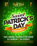 Saint Patrick`s Day party celebration poster. Banner design. 17 March nightclub invitation with lettering on bright green clover background Royalty Free Stock Photo
