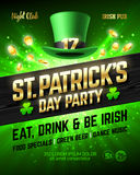 Saint Patrick`s Day party celebration poster design. 17 March nightclub invitation with leprechaun hat, gold lettering, coins on bright shining green Stock Image