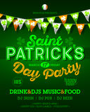 Saint Patrick`s Day party invitation poster. Placard design with vintage style neon lettering, Ireland flag colors bunting flags, 17 March nightclub invitation Stock Photography