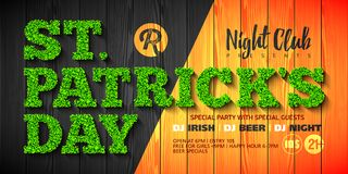 Saint Patrick`s Day party invitation. Or flyer design template, 17 March nightclub invitation with green glass lettering on wooden background Stock Image