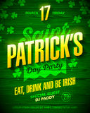 Saint Patrick`s Day party poster design. Eat, drink and be Irish, 17 March nightclub party invitation with lettering on wooden background Stock Photo