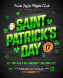 Saint Patrick`s Day party poster design. 17 March nightclub invitation with green shining lettering on wooden background Stock Image